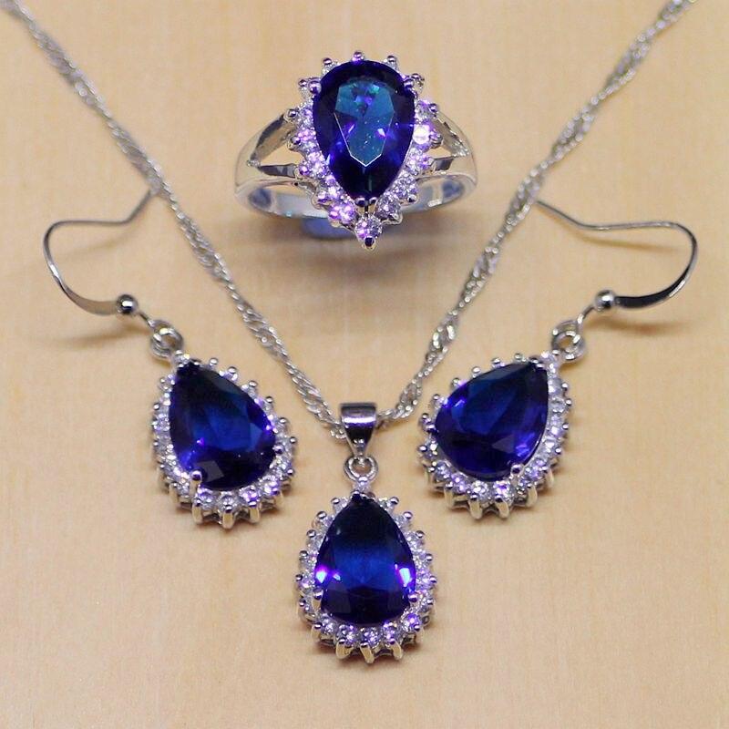 Klassische Blaue Cz Weiß Kristall Schmuck Sets 925 Sterling Silber Schmuck Frauen Ohrringe/anhänger/halskette/ringe T181 StraßEnpreis Brautschmuck Sets