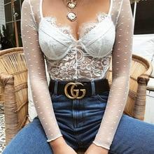 FREE SHIPPING !! Lace Print Long Sleeve V-neck Mesh Bodysuit JKP753