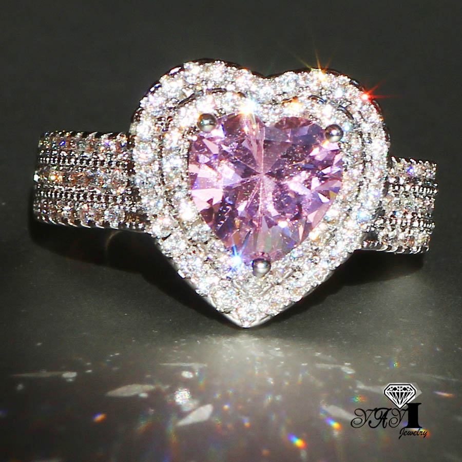 YaYI Fashion Women Jewelry Ring 2.9CT Pink Zircon CZ Silver Color Engagement Rings wedding Rings Party Rings 2