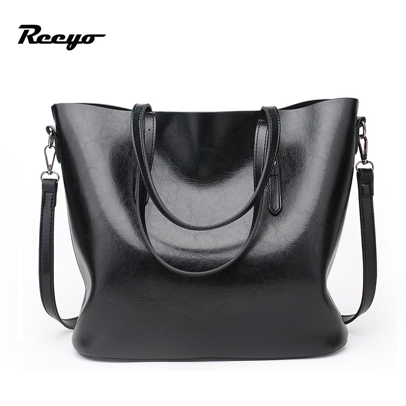 Hot Sale Women's Handbags Women Bag Large Capacity PU Oil Wax Leather Shoulder Bag Casual Totes Brand Bags Free Shipping 5 2 1