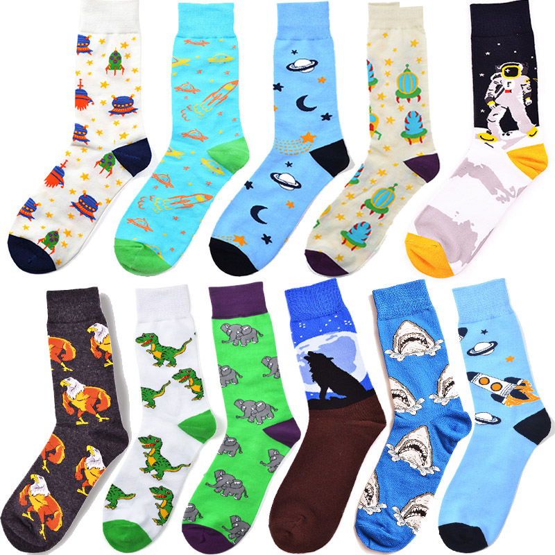 Creative Novelty Funny Crazy Animal Food Crew Socks Mens Colorful Fun Cool Space Astronaut Dinosaur Einstein Corgi Dress Socks For Men Underwear & Sleepwears