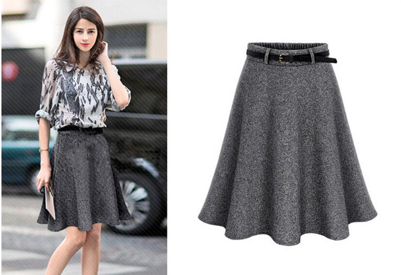84cf93da10d78 2019 2017 New Autumn Winter Women Skirt Plus Size M 6XL Woolen ...