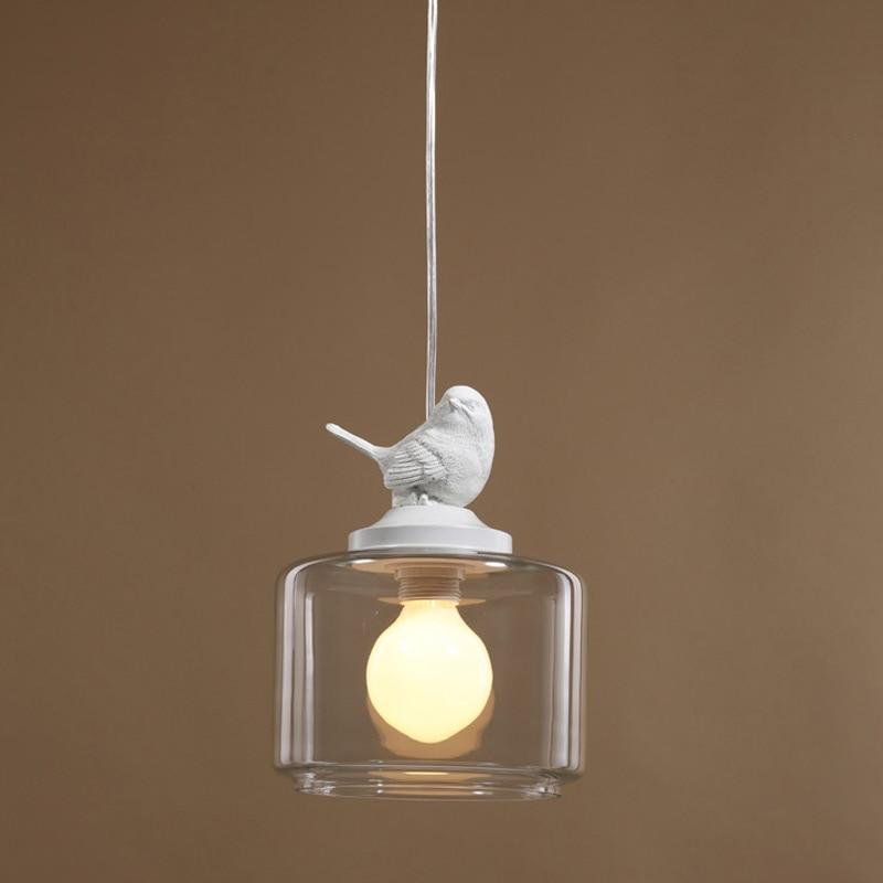 Modern Dining Room Kitchen Restautant Pendant Lighting Novelty Resin Bird Glass Lampshade White Iron Decor Lamp E27 110-220V