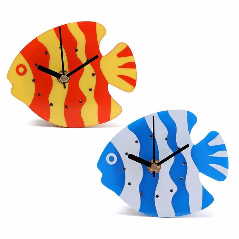 nuovo magnete di plastica blu orange rosso orologio frigorifero cucina orologio da parete fish design per