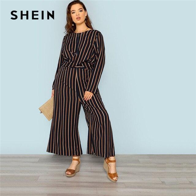deb6499c25f SHEIN Multicolor Stripe V Neck Back Plus Size Women Elegant Striped  Jumpsuit Office Lady Cross Wrap Detail Loose Long Jumpsuit