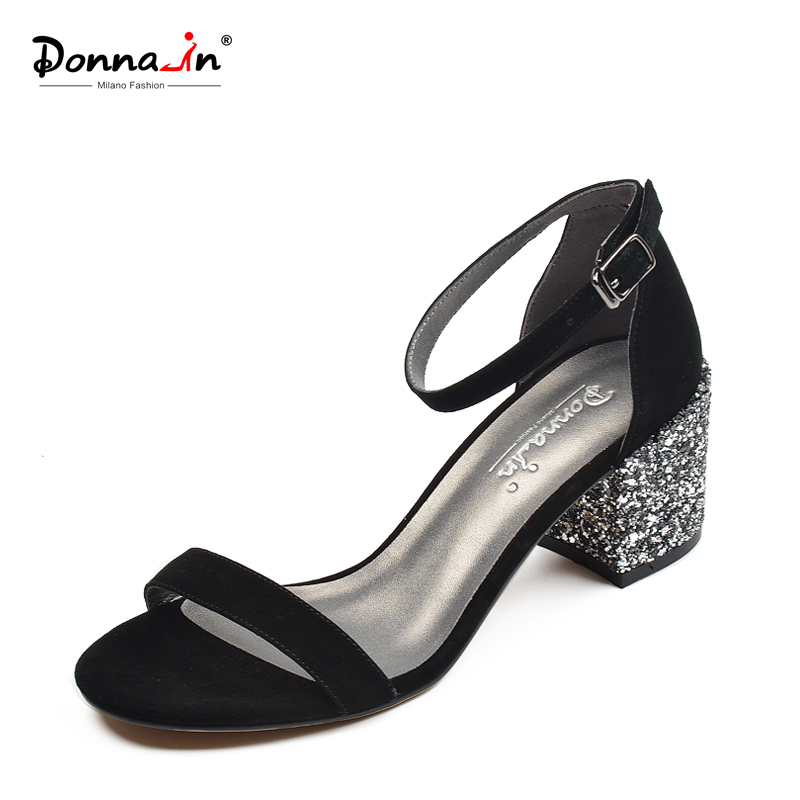 Donna-in Ankle Strap Sandals Women Summer Black Chunky Heel Sandal Buckle Genuine Leather Open Toe Gladiator Glitter Shoes Women genuine leather women sandals high chunky heel square toe cover heel sheepskin buckle strap butterfly knot elegant women shoes