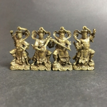 Statue Buddhas Collection Carved Chinese-Brass Four The Diamond Four-Heavenly-Kings Exquisite