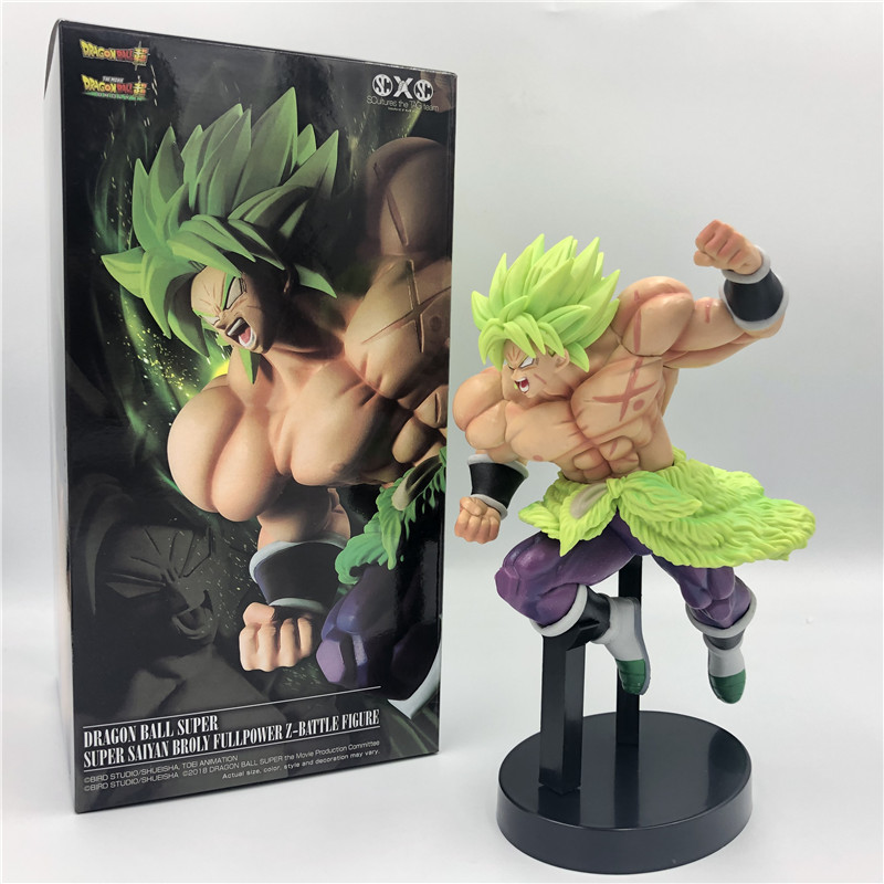 2019 Dragon Ball Z Super Broly Movie Ver. Green Hair VS Goku Broli Super Saiyan Combat Form PVC Action Figure DBZ Model 24cm