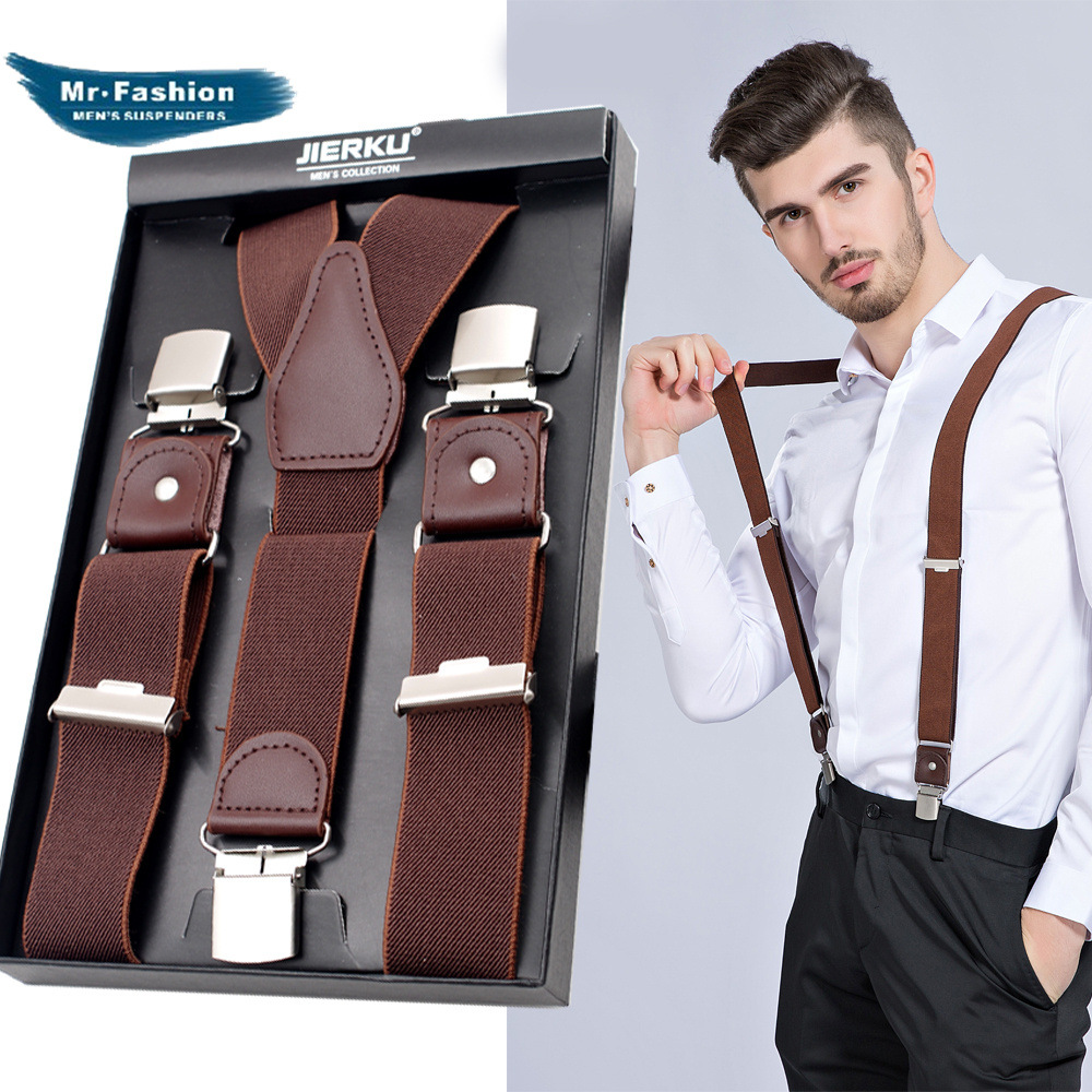 Adult Men's Three Clip Y-strap High-end Boxed Elastic Elastic Straps