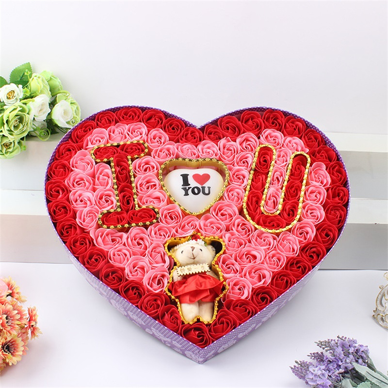 100Pcs/Box DIY Artificial Soap Rose Flower with Plush Animal toys Teddy Bear Doll Gift Box Valentine Christmas Wedding gifts festival gift simulation rose soap flowers with gift box