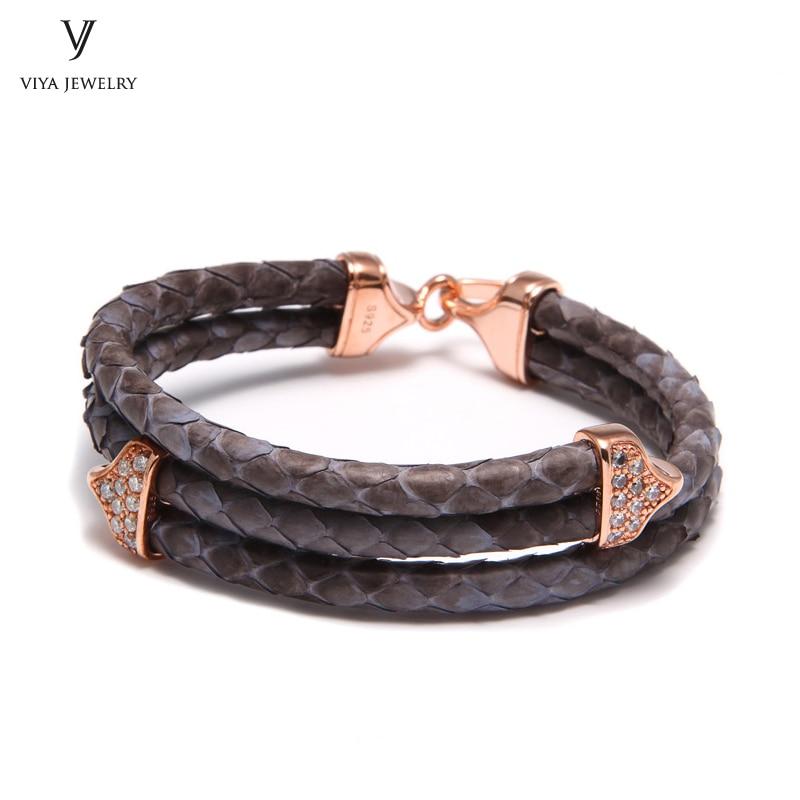 Luxury 925 Silver Buckle Bracelet With Grey Python 925 Sterling Jewelry Grey Python Leather Bracelet Black Color Metal For Men ekonika en5507 07 grey metal 17l