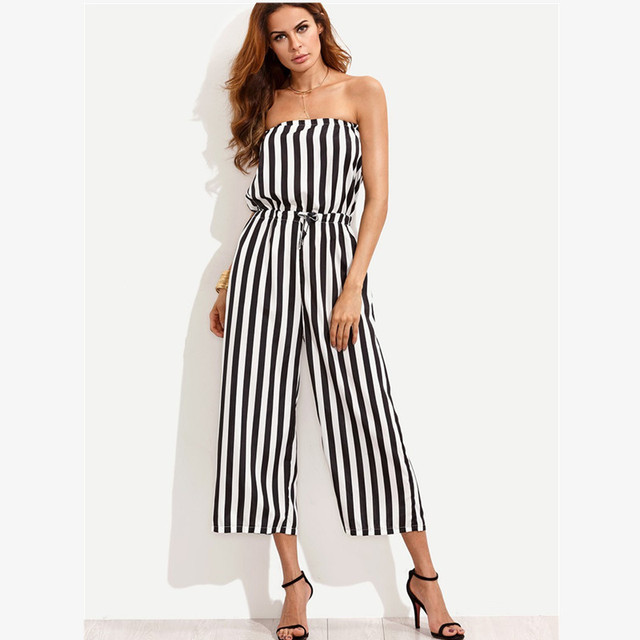 13d0f7a28dde sexy strapless off shoulder striped rompers womens jumpsuit summer one  piece wide leg jumpsuits plus size loose overalls A1896