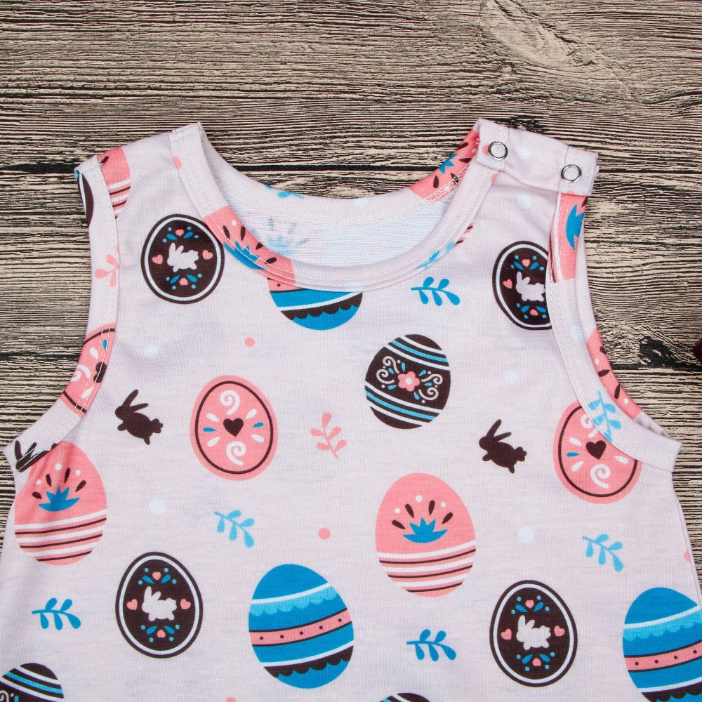 2018 Baby Girl Boy Easter Romper Summer Kids Exquisite Egg Printed