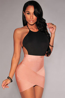 2016 New Summer Women S Pink Red Black Rosy Olive Nude Bandage Arched Mini Pencil Skirt