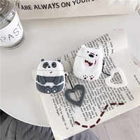 Cartoon funny bears headset pouch for airpods case wireless bluetooth headphone earphone charging box bare silicone airpod skin