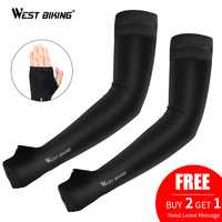 WEST BIKING Ice Fabric Running Arm Sleeves UV Protection Breathable Sport Cycling Fitness Running Men Women Arm Warmers Sleeves