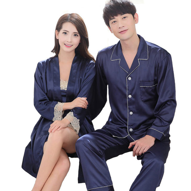 Summer Couples Pajamas Sets Women Silk Nightgown Two pieces Female  Nightwear Sleepwear Clothes Plus Size pijama a13b1e195