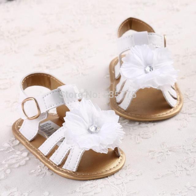 2015 New Fashion Summer Newborn Baby Girls Kids Prewalker Shoes Pure White Princess Infant Toddler Soft Soled Anti-slip Shoes