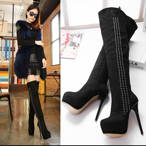 Black Knee High Heeled Womens Boots