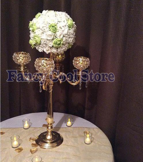 Responsible 76cm Tall Crystal Gold Candelabras Candle Holder Flower Stand Table Centerpiece Wedding Decoration Complete In Specifications Home Decor