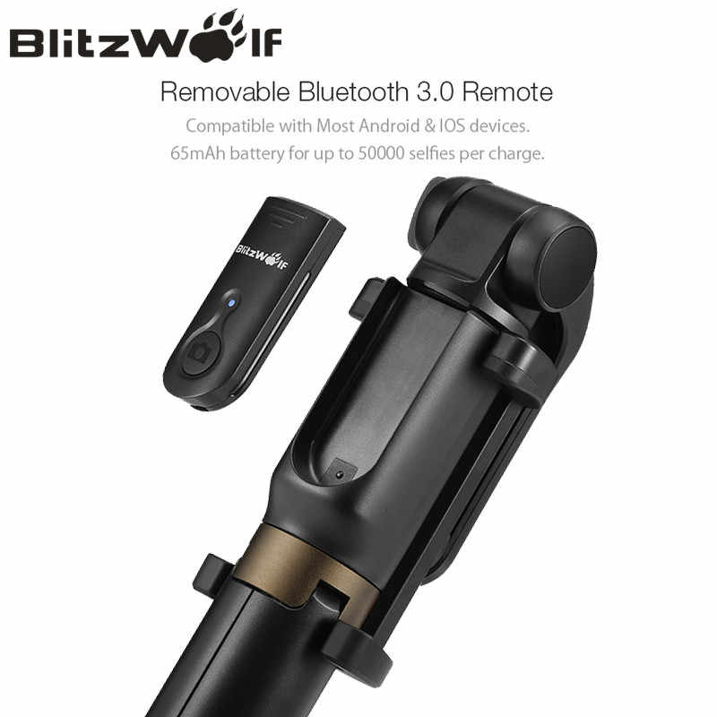 BlitzWolf BS3 Universal Wireless Bluetooth Selfie Stick Mini Trípode Extensible Plegable Monopod Live Stream Travel para iPhone 11 Pro X XR 8 Para Samsung Xiaomi 9 Huawei P30 Pro Teléfono inteligente