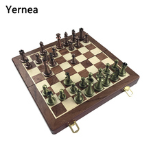 Yernea High-end Wooden Folding Chessboard Retro Metal Alloy Chess Pieces Game Set 30*30*2.7cm Friends Gift