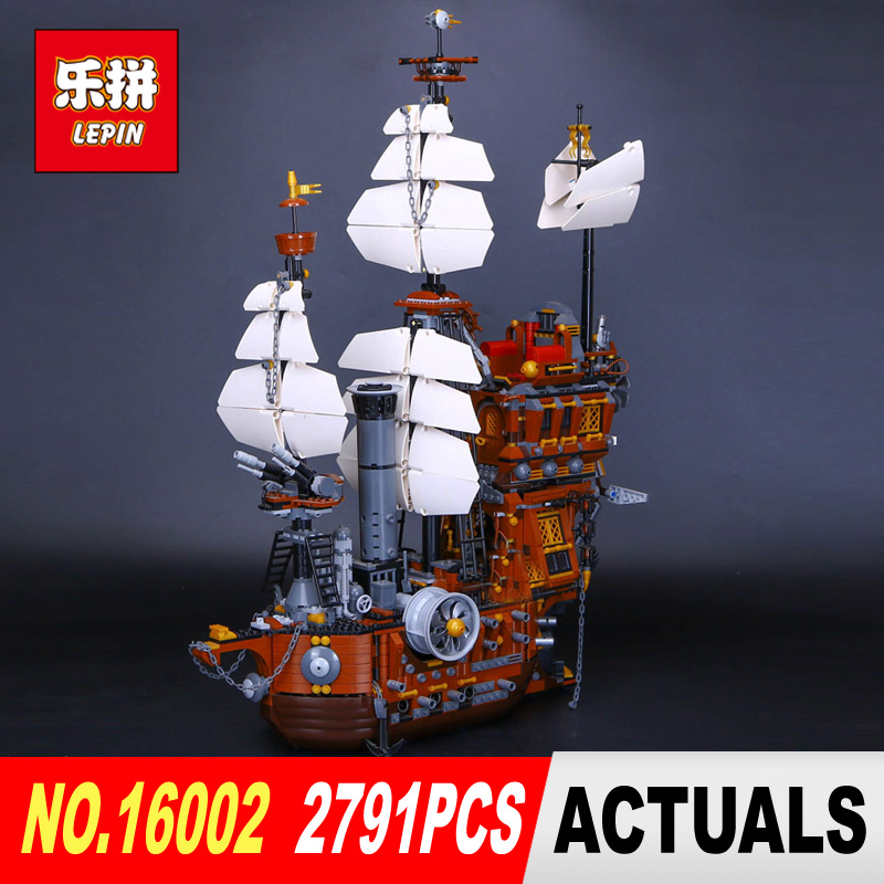 Free Shipping LEPIN 2791PCS 16002 Pirate Ship Metal Beard's Sea Cow Model Building Kits Blocks Bricks Toys Compatible With 70810 lepin 22001 pirate ship imperial warships model building block briks toys gift 1717pcs compatible legoed 10210