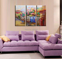 3 piece abstract modern Knife paint beautiful canvas wall art handmade Venice oil painting on canvas for living room decoration