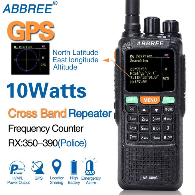 ABBREE AR 889G GPS 10 Watt High Power Walkie Talkie Cross Band Repeater Dual Band Draagbare Ham CB Two Way Radio transceiver-in Portofoon van Mobiele telefoons & telecommunicatie op AliExpress - 11.11_Dubbel 11Vrijgezellendag 1