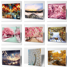 The street scenery number Oil Painting Wall Pictures For dining  Room Canvas Digital painting No frame Home Decoration