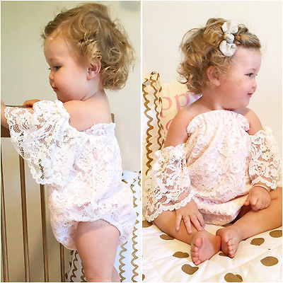 2017 Summer Princess Girls White Lace Romper 0-24M Newborn Baby Girls Off shoulder One Pieces Toddler Kids Jumpsuit Sunsuit 2017 summer toddler kids girls striped baby romper off shoulder flare sleeve cotton clothes jumpsuit outfits sunsuit 0 4t