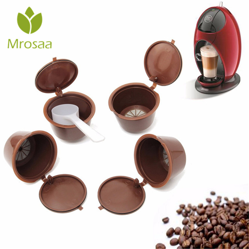 4PcsSet:  4Pcs/set Nescafe Gusto Refillable Coffee Capsule Cups Plsatic Reusable Dolce Gusto Coffee Capsule Filter With Spoon Coffeeware - Martin's & Co