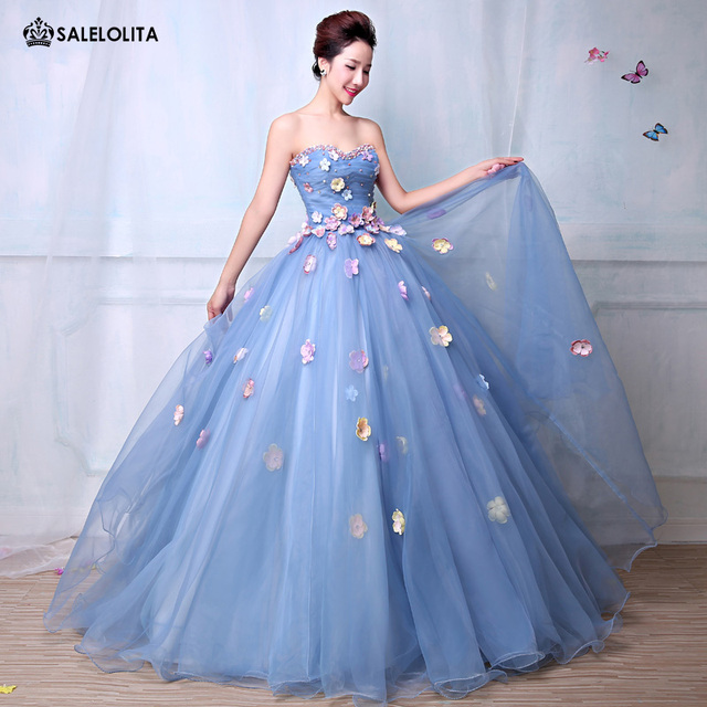 f7a7313726 Real Photo Bohemian Blue Tulle Appliques Strapless Women Bud Dresses Stage  Performance Special Occasion Mesh Party Dresses