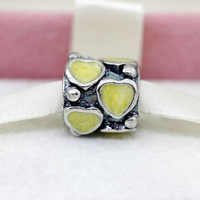 PS182 hot sale yellow heart charms and Beads fit European Bracelet wholesale fashion jewelry