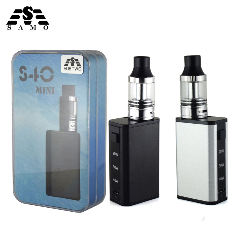 Hot S40 mini Box Mod variable wattage Electronic Cigarette kit with 2 0ml 0 5ohm tank