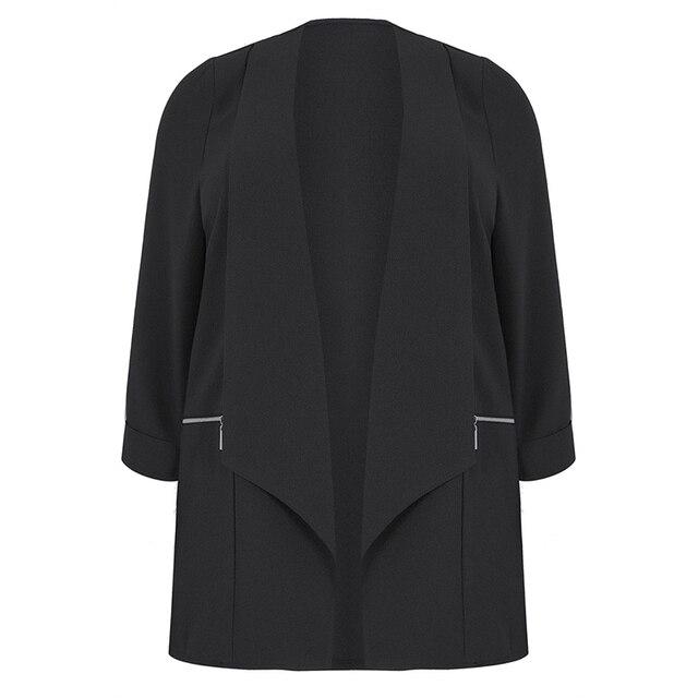kissmilk 2018 Plus Size Solid Black Office Lady Women Blazers Notched Collar Zipper Long Sleeve Female Big Size Coats Outwears 2