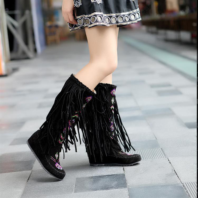 Mid Calf Boots Hidden Wedges Tassel Knee High Boots Women Shoes Black Red Flat Fashion Lace Up Ladies Fringe Boots Plus Size 43