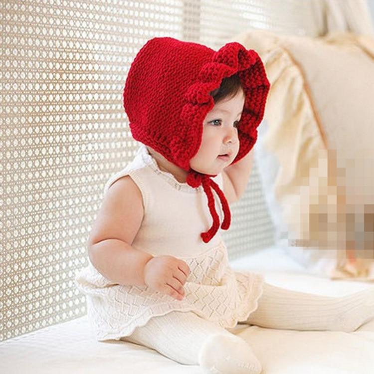 New chic Bebé invierno sombrero de punto de ganchillo volantes niño ...