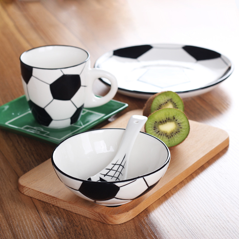 Creative Children s Ceramic Tableware Football Ball Series Dish Plate Bowl Cup with ware dinnerware Volleyball