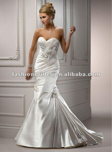 Wm006 2017 New Design Sweet Heart Ruched Mermaid Wedding Dress Patterns