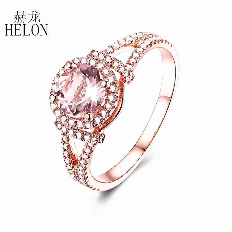 HELON Solid 14K Rose Gold 0.8ct Genuine Lightest Pink Morganite Pave Natural Diamonds Engagement Wedding Diamonds Gemstone Ring
