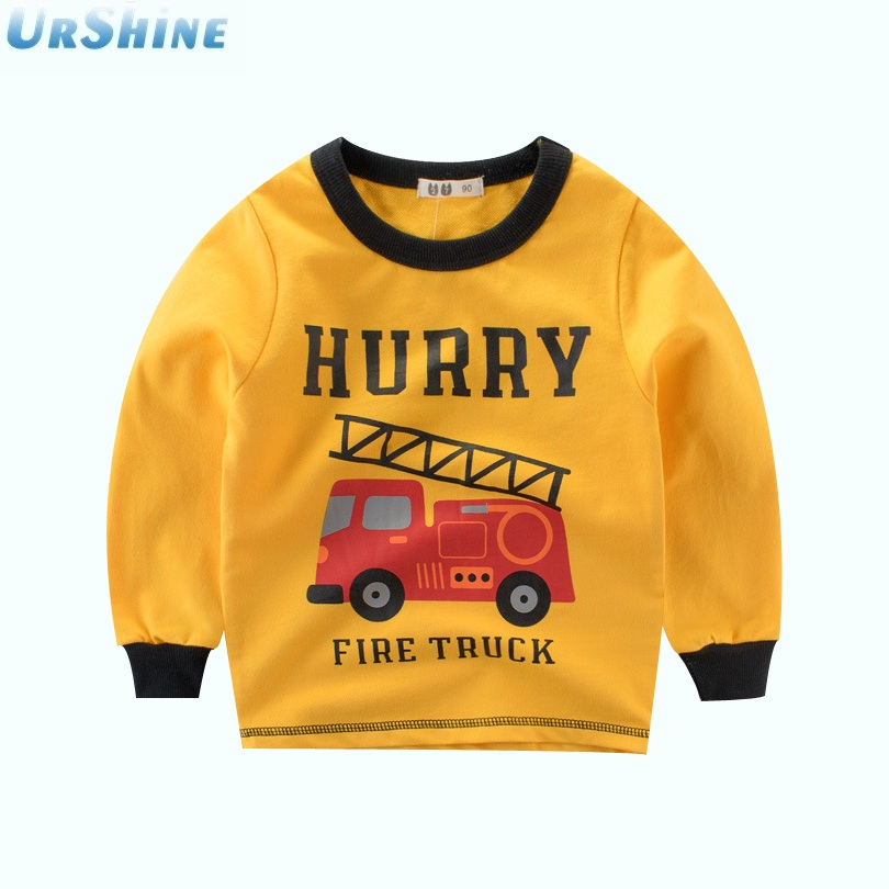 2018 New Arrival Fashion Children T-shirt Long Sleeve Cartoon Engineering Vehicle Excavator Boy Casual Sweatshirt Kids Clothes