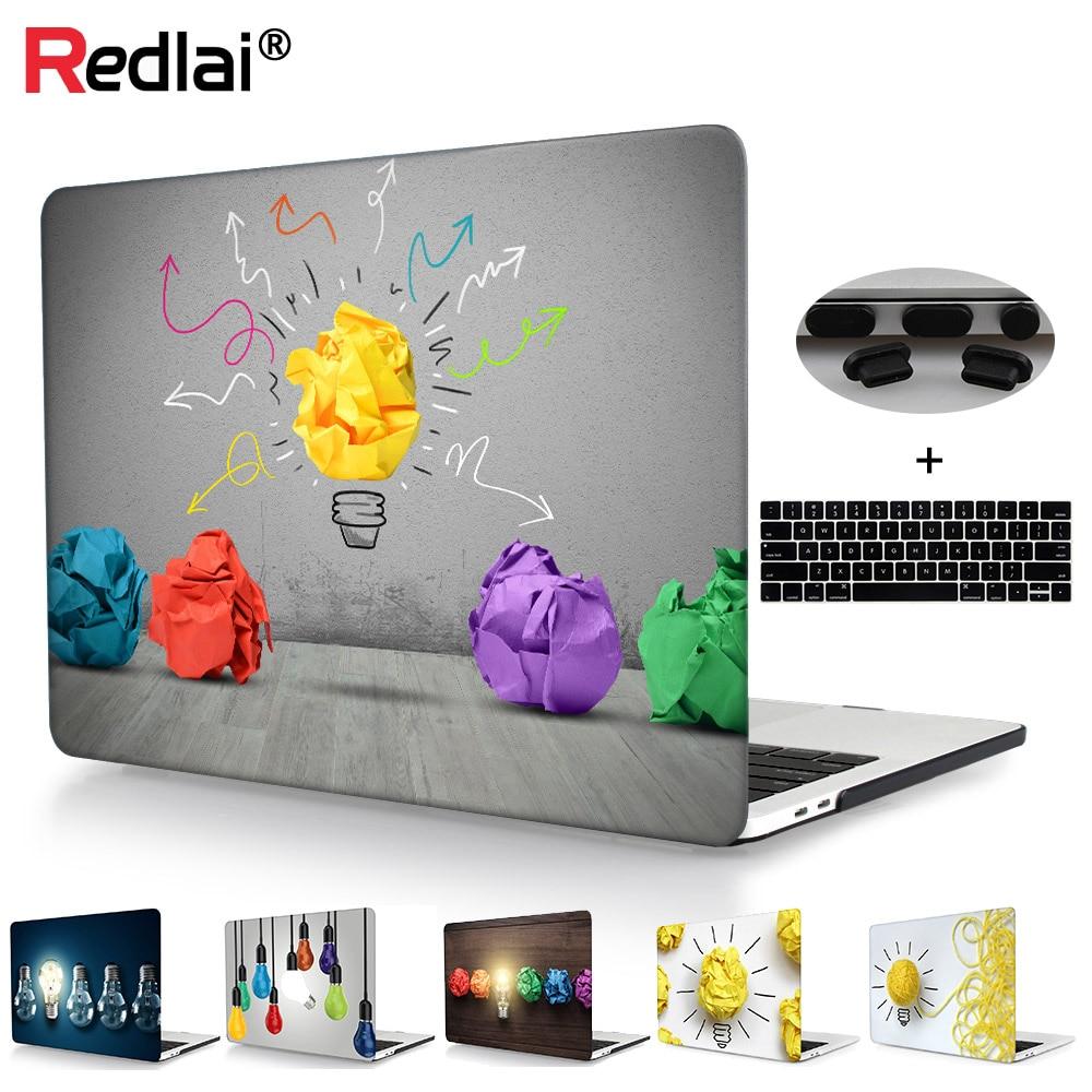 Väska till Macbook New Pro Retina 12 13 15 Touch Bar A1989 Creative Light Bulb Print Plast Hård Väska Air 13 A1466 Ny A1932 2018
