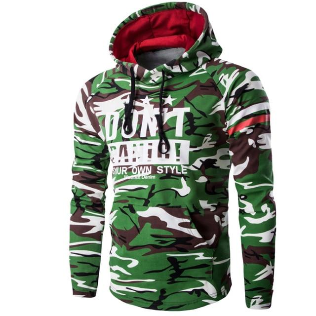 2017 Hoodies Men Hombre Hip Hop Male Brand Hoodie Camouflage Letters Printed Sweatshirt Suit Mens Slim Fit Men Hoody XXL A