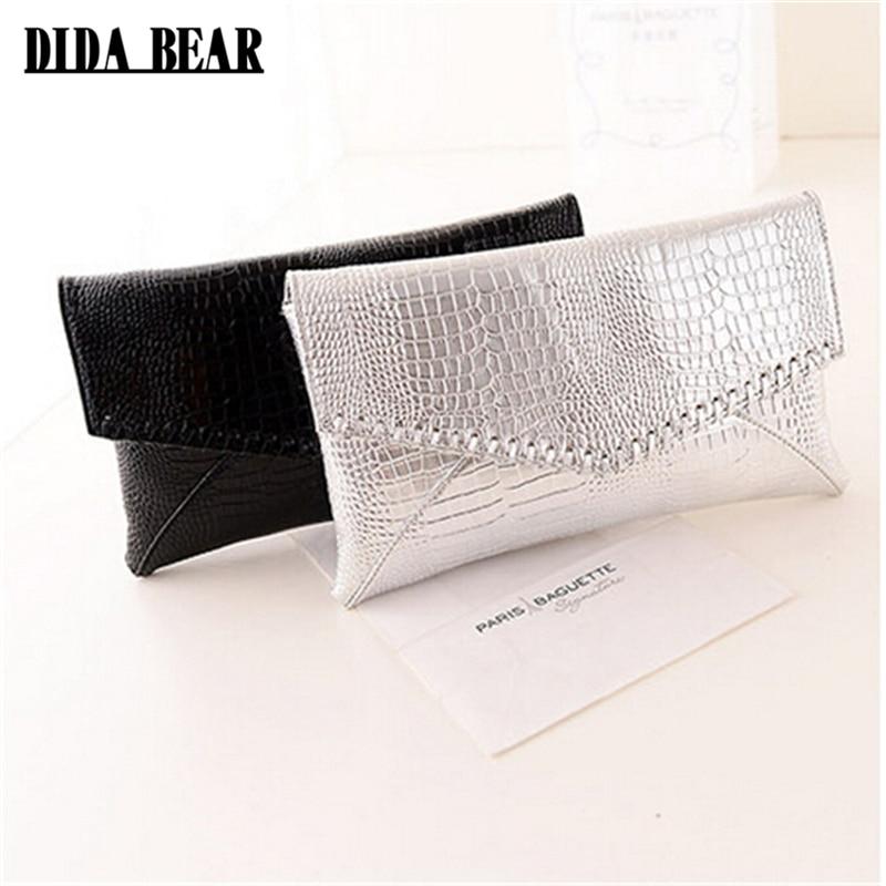 DIDABEAR Fashion Women Clutches Bag Girl Serpentine Crocodile Messenger Bag Lady Party Handbag and Purse Sac A main Black Silver