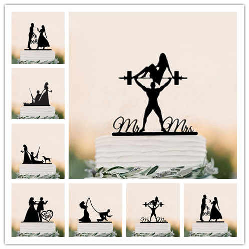 Mixed Funny Style Wedding Cake Topper Bride & Groom Cake Topper MR & Mrs Black Acrylic Cake Decorating