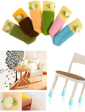 4pcs Chair Leg Socks Home Fashion Protect Floor Knit Flower Leg Sleeve Table Chair Foot Cover Sock