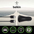 New Arrival 9V/3A Belkin Original USB Type-C Quick Car Charger with USB-C to C Cable for Huawei P9 for Galaxy S7 with Package