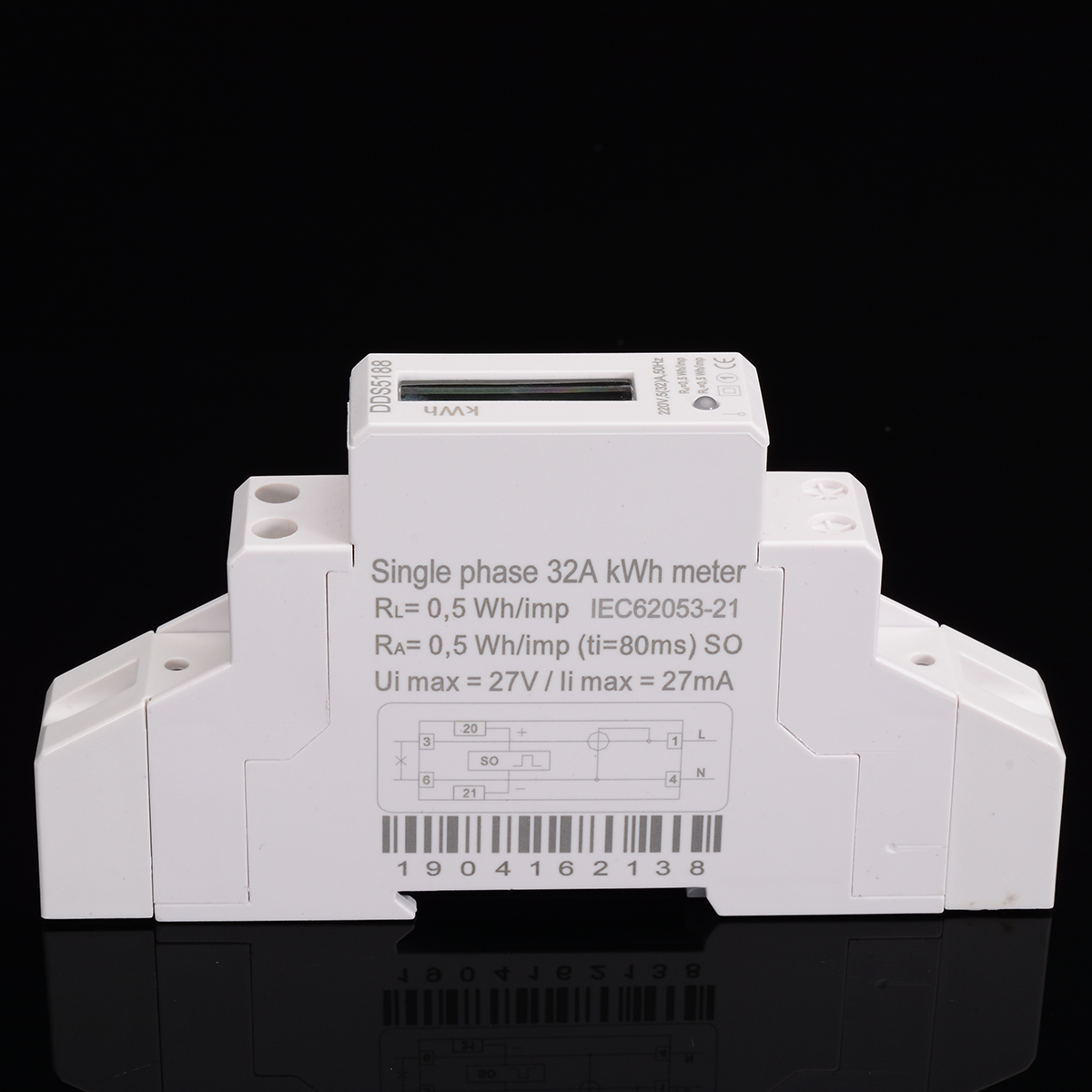 1pc DIN Rail Meter DDS5188 LED AC Meter Electric Meter KWH LCD 5 32 A For DIN Rail With S0 Port Backlight Guide in Energy Meters from Tools