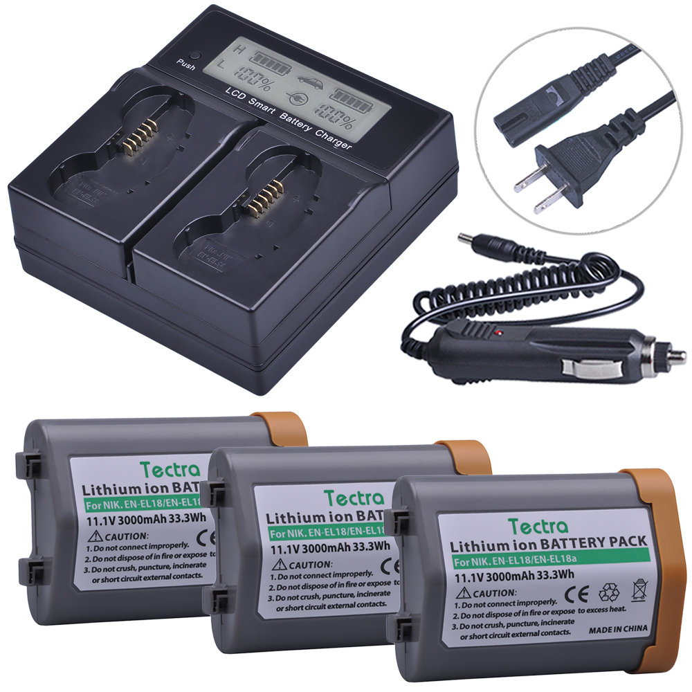 3Pcs Battery & LCD Dual Fast Charger for Nikon EN-EL18, EN-EL18a, ENEL18, ENEL18a, MH26a, MH26 and Nikon D4, D4S, D5 Camera rechargeable camera battery en el18 for nikon made in china